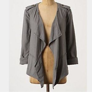 Anthropologie gray draped surplus jacket XS